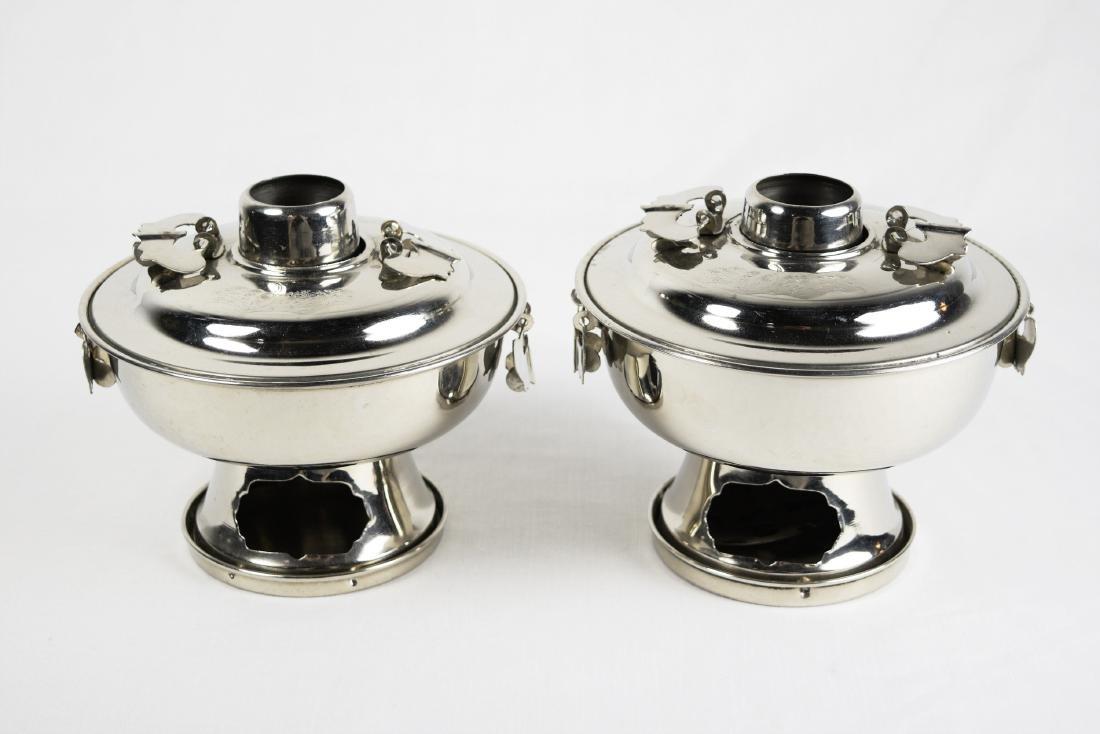 A Pair of Korean Small Steel Hot Pots