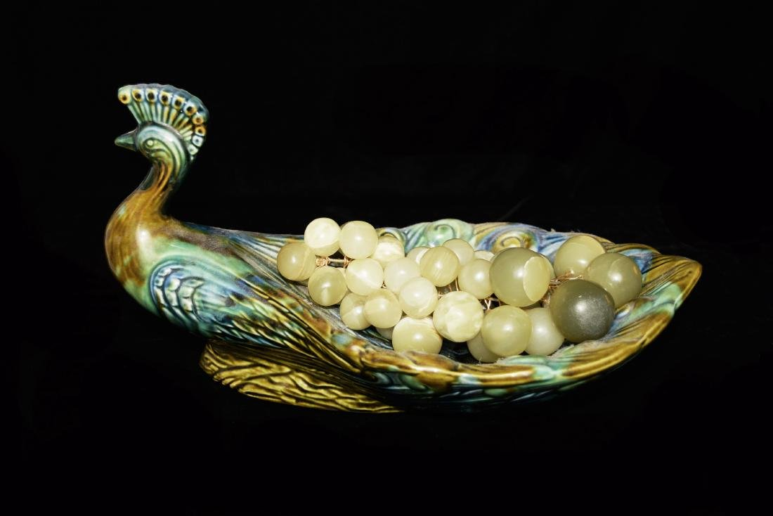A Indian Style Flambe Glazed Porcelain Peacock Compote