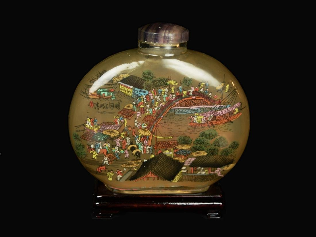 A Large Old Chinese Coloured Glass Snuff Bottle