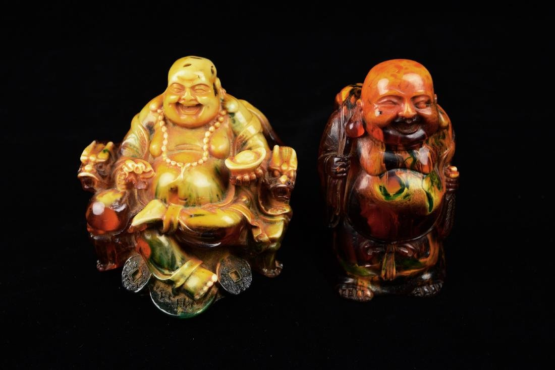 [Chinese] A Pair of Old Amber Laughing Buddhas