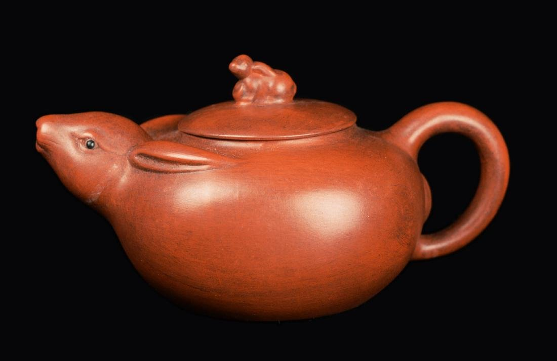"""A Chinese Yixing Clay Rabbit Style Teapot, marked """"Yan"""