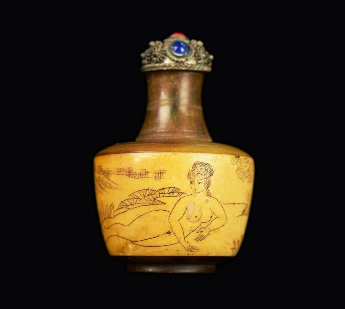 A Republic Era Chinese Horn and Bone Carved Snuff