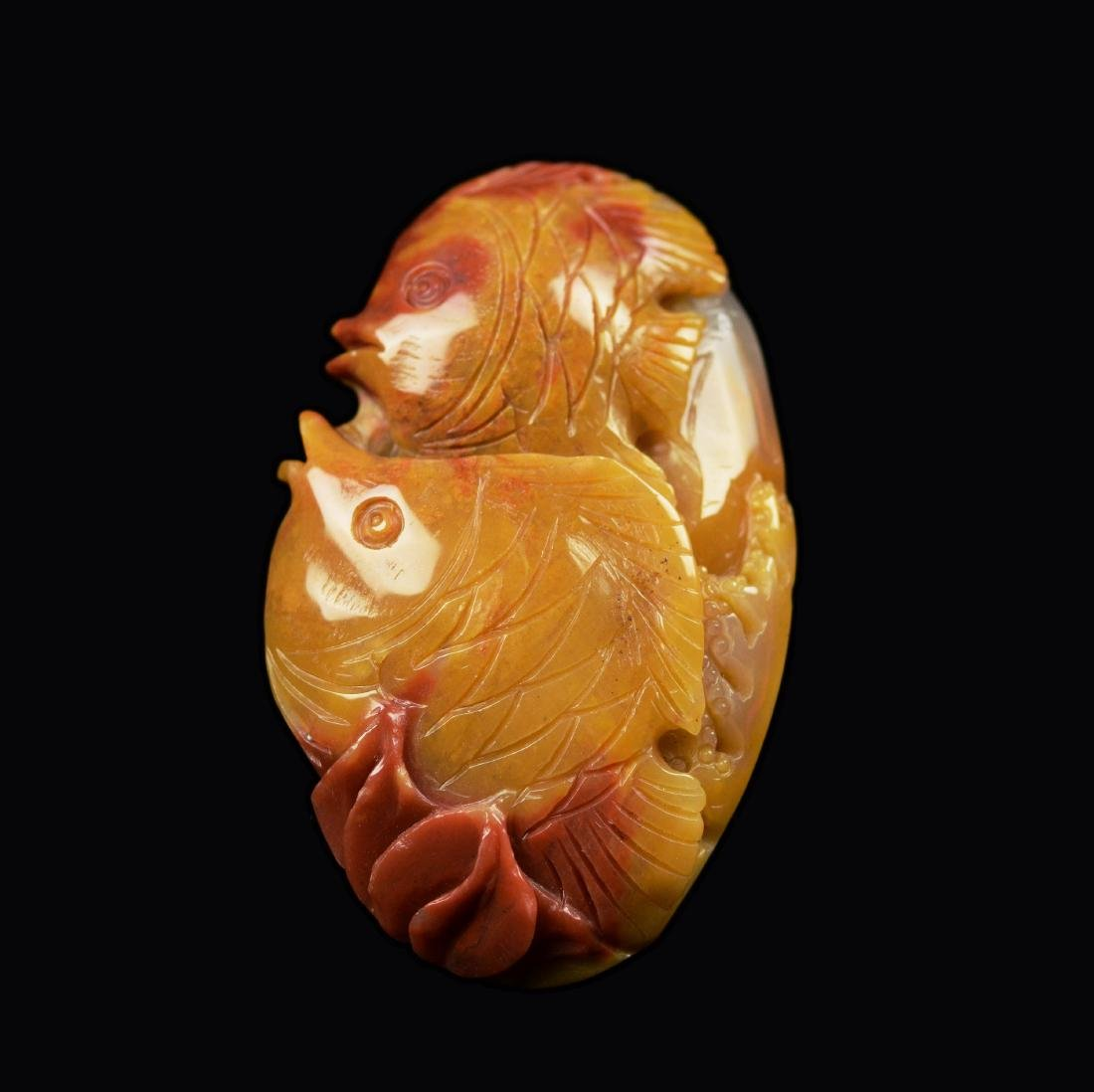 Natural Multi-Colour Agate Carved Dual Fish Pendant