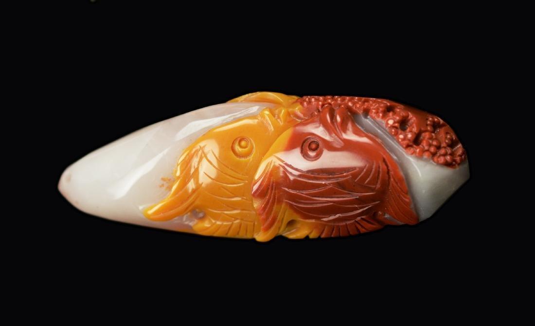 "Natural Multi-Colour Agate Carved ""Sea World"" Pendant"