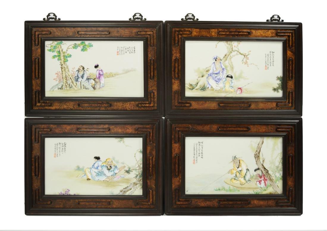 A Set of Hardwood Framed Porcelain Plaque Wall Panels,