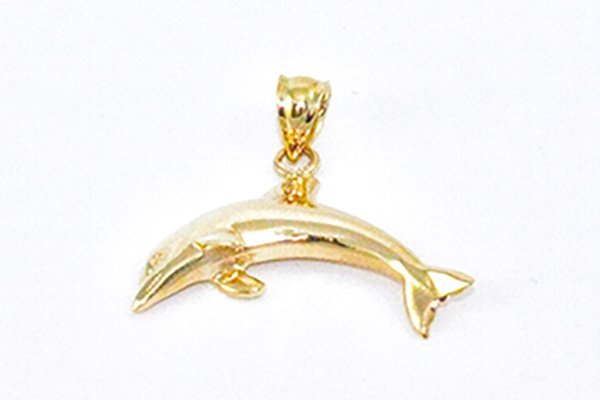 14K Yellow Gold Dolphin Charm Pendant