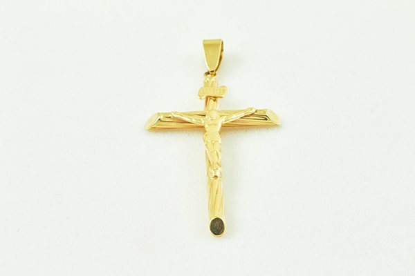 14K Cross Pendant w/ Jesus' Image on Top, Curved Base