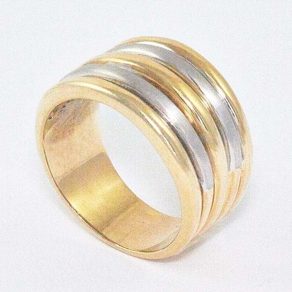 14K Gold Ladies Wide Band with Two-Tone Top Bars