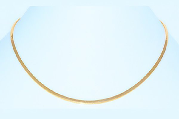 "14K Gold Flat Italian Omega Chain 18"" Necklace - 3mm"
