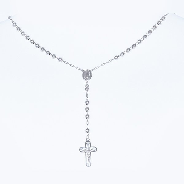 14K Gold Rosary with 5mm Gold Beads, White Gold Cross - 2
