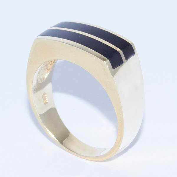 14K Gold Gents Ring with Onyx Stripes on Top