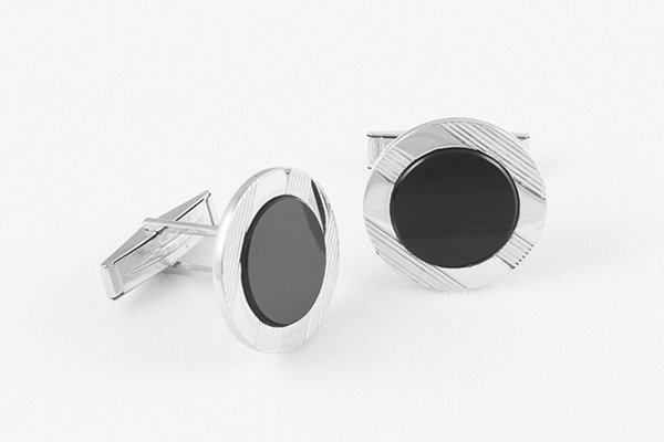 14K White Gold Cuff Links with Grooves and Onyx Center