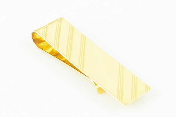 14K Yellow Gold Money Clip Designed w/ Classic Grooves