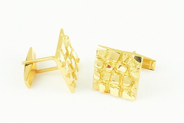 14K Yellow Gold Cuff Links with Unique Nugget Design