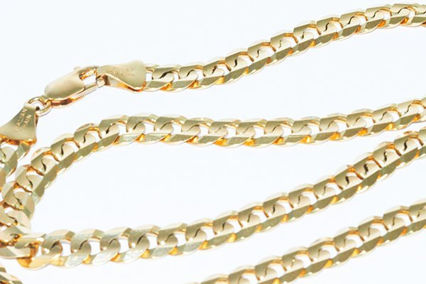 "14K Gold Flat Italian Curb Chain 18"" Necklace - 7mm"