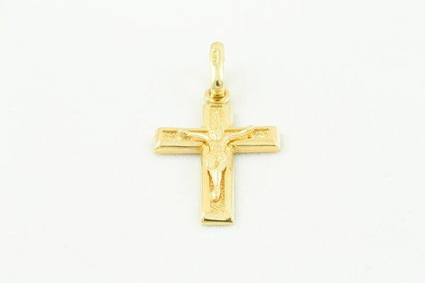 14K Cross Pendant w/ Jesus' Image Inside Framed Edges