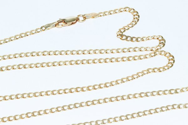 """14K Gold Flat Italian Curb Chain 30"""" Necklace 2.75mm"""