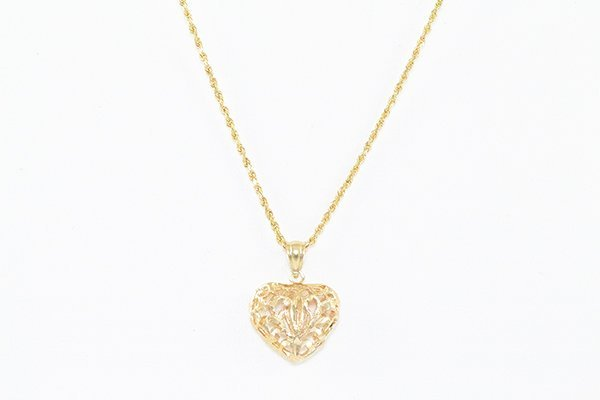 """14K 16"""" Chain Necklace w/ a Small Heart Charm Pendant"""