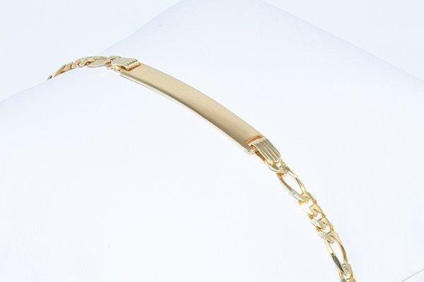 """14K Men ID Italian Figaro Bracelet 8"""", 3.75mm links"""