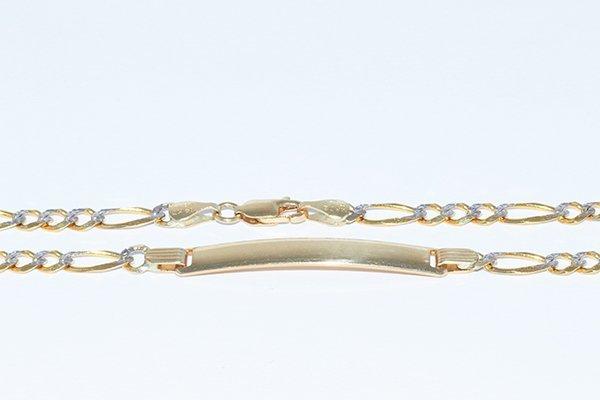 """14K Men ID Italian Figaro Bracelet 8.25"""", 2.5mm links"""
