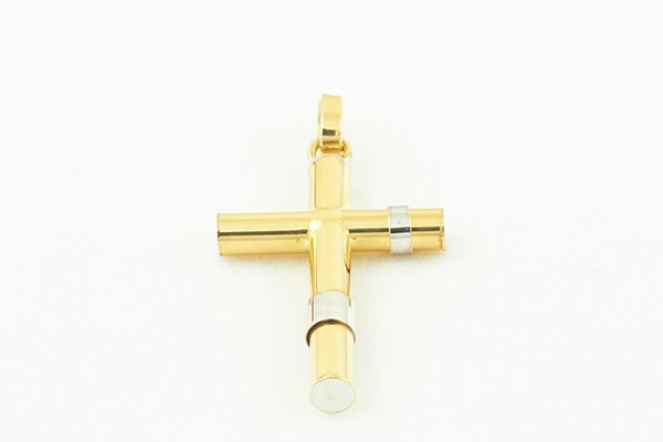 14K Cross Pendant High-Polished w/ Accents on the Sides