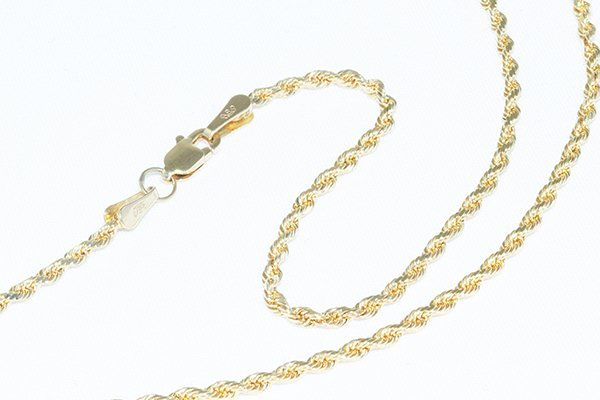 """14K Gold Diamond-Cut Rope Chain 18"""" Necklace - 2mm"""