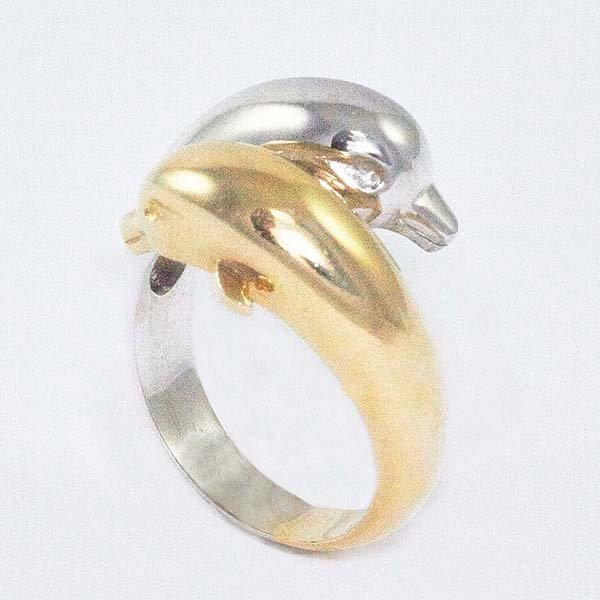 14K Gold Ladies Ring Designed with Dolphins