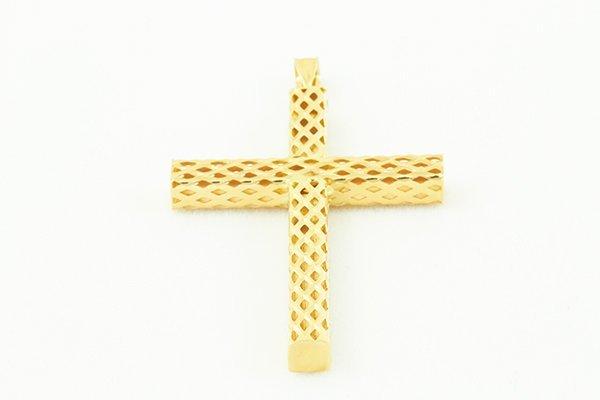 14K Cross Pendant, Classic Weave Design, Box-Like Frame
