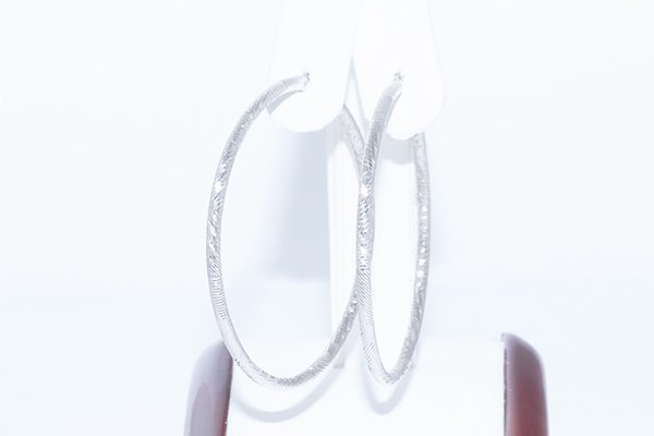 14K White Gold Diamond-Cut Hoop Earrings -Extra Large