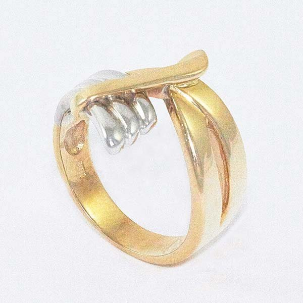 14K Gold Ladies Ring in Two-Tone Accented w/ Angel Wing