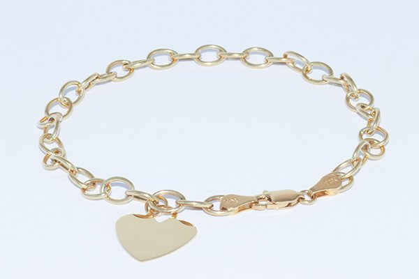 "14K Yellow Gold 8"" Link Bracelet with Heart Tag"