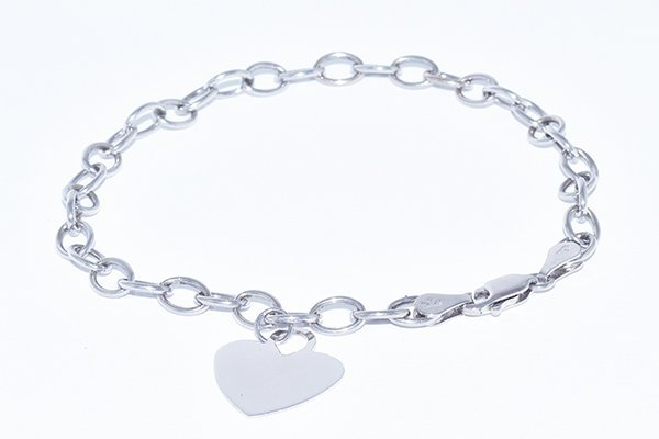 "14K White Gold 8"" Link Bracelet with Heart Tag"