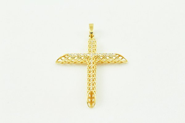14K Cross Pendant w/ Curved Frame with a White Cross