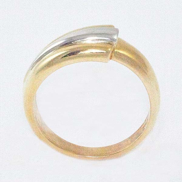 14K Ladies Ring in Two-Tone w/ Geometric White Accent