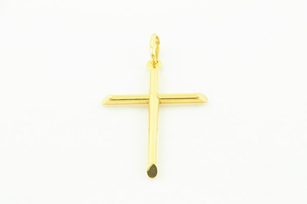 14K Yellow Gold Cross Pendant with a Simple Curved Form