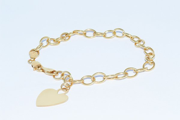 "14K Yellow Gold 7"" Link Bracelet with Heart Tag"