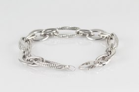 "14k White Gold 7"" Chain Bracelet With A Lobster Lock"