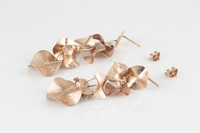 14k Rose Gold Dangling Earrings With Designed Discs