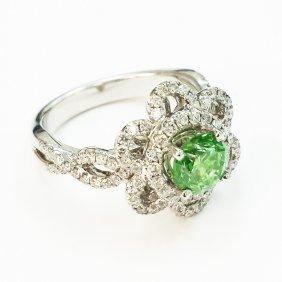 18k Diamond Flower Ring W/ Fancy Green Round Diamond