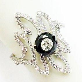18k Diamond Ring W/ Black Diamond Pierced On Top