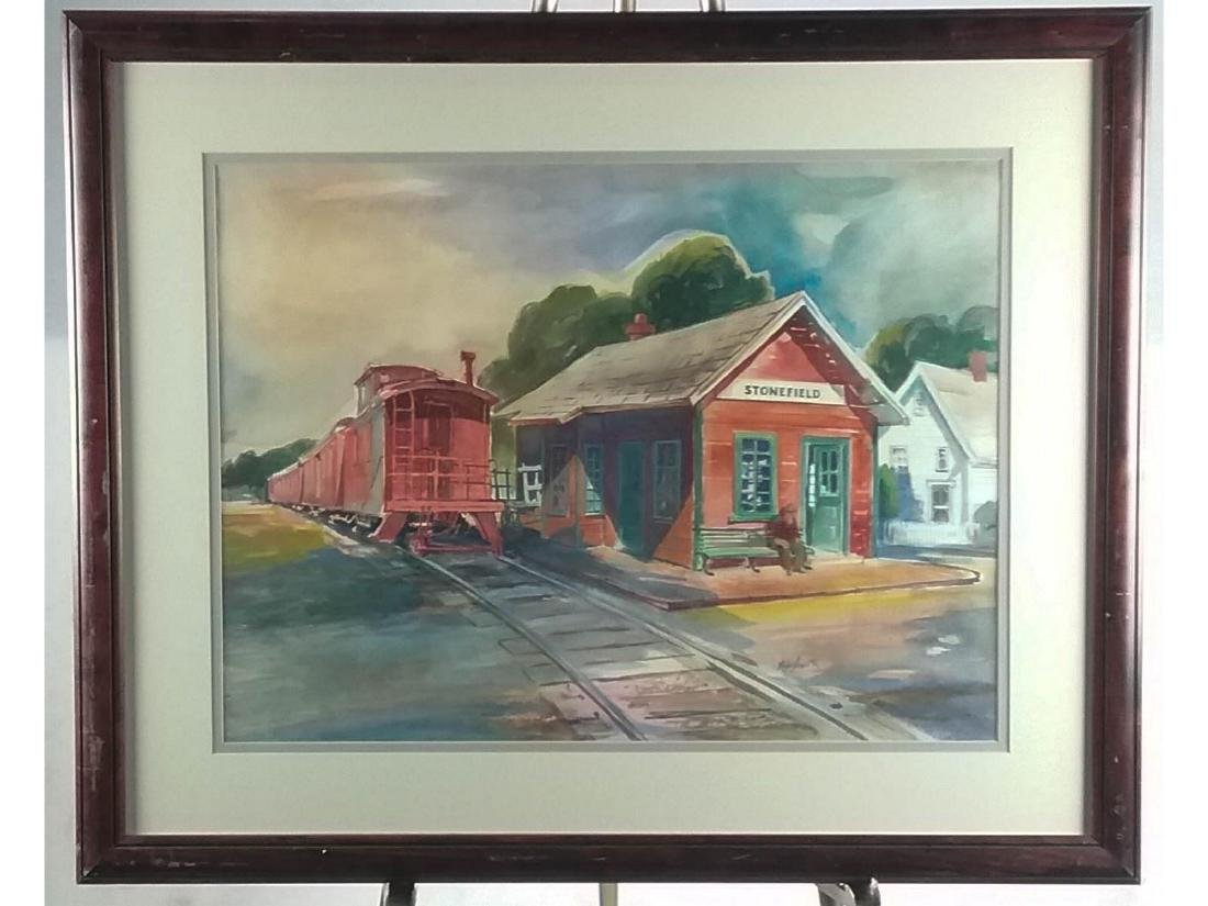 Kay Smith Train Station Framed Watercolor