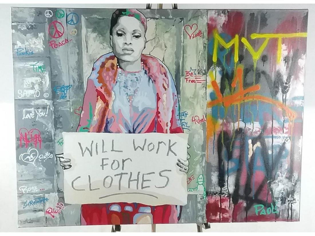 """""""Will Work for Clothes"""" Mixed Media on Canvas"""