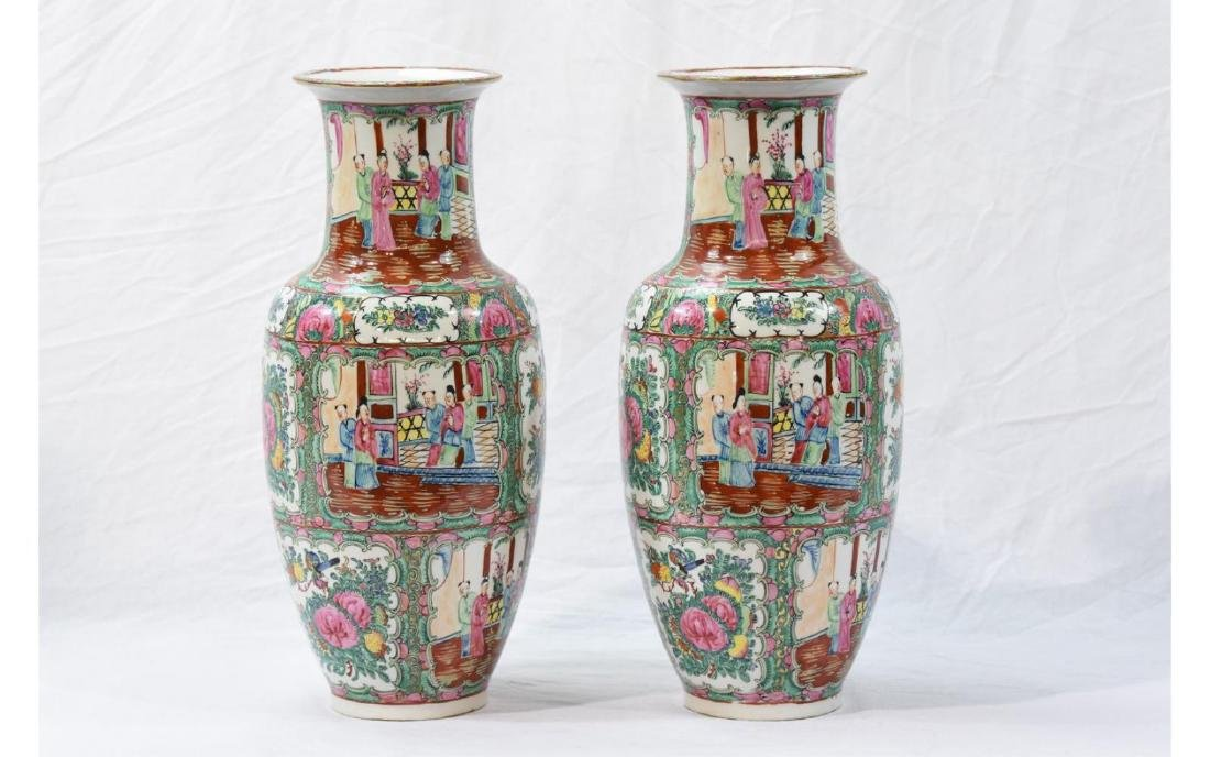 Pair Contemporary Chinese Painted Porcelain Vases
