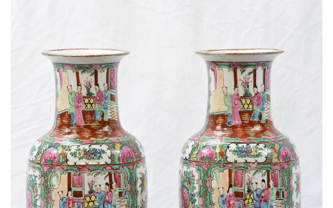 Pair Contemporary Chinese Painted Porcelain Vases - 2
