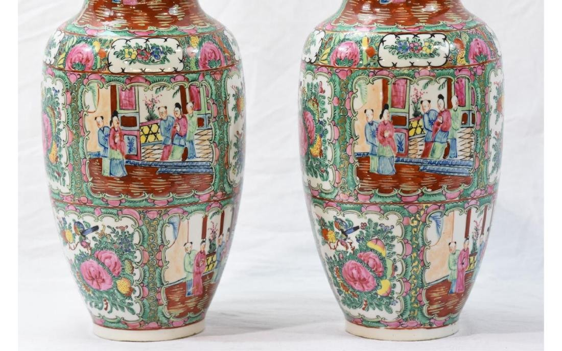 Pair Contemporary Chinese Painted Porcelain Vases - 3