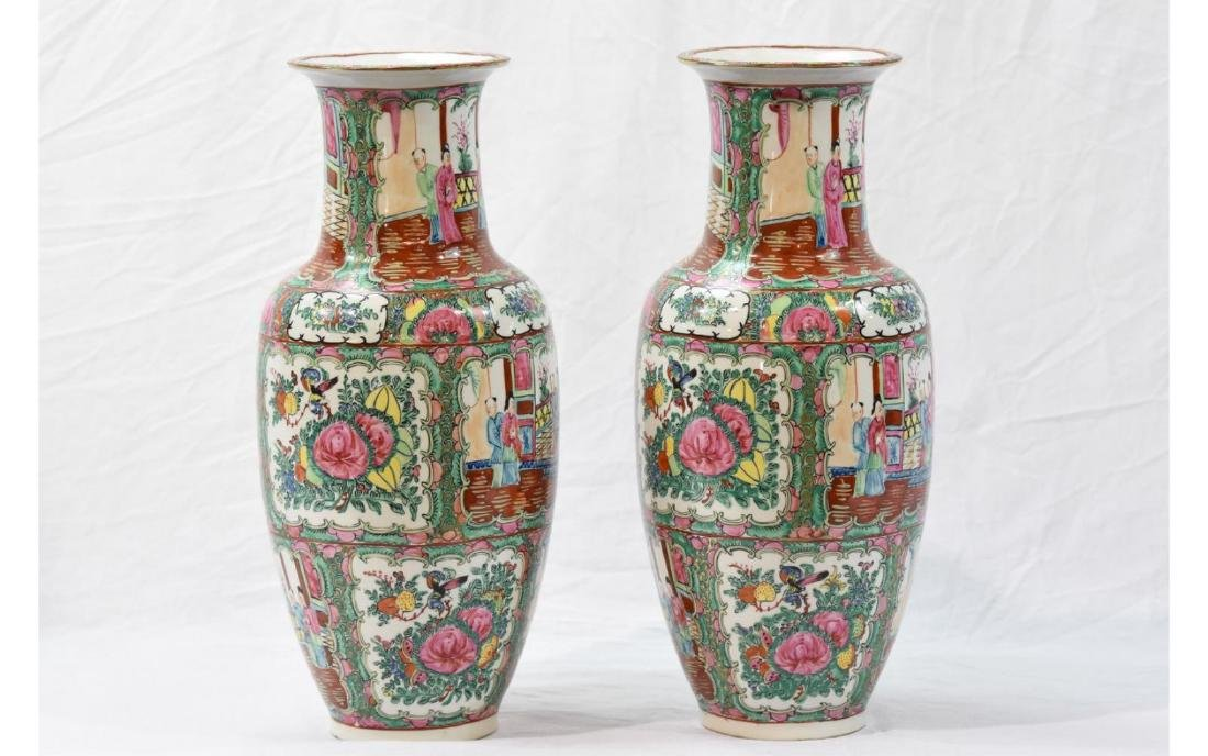 Pair Contemporary Chinese Painted Porcelain Vases - 4