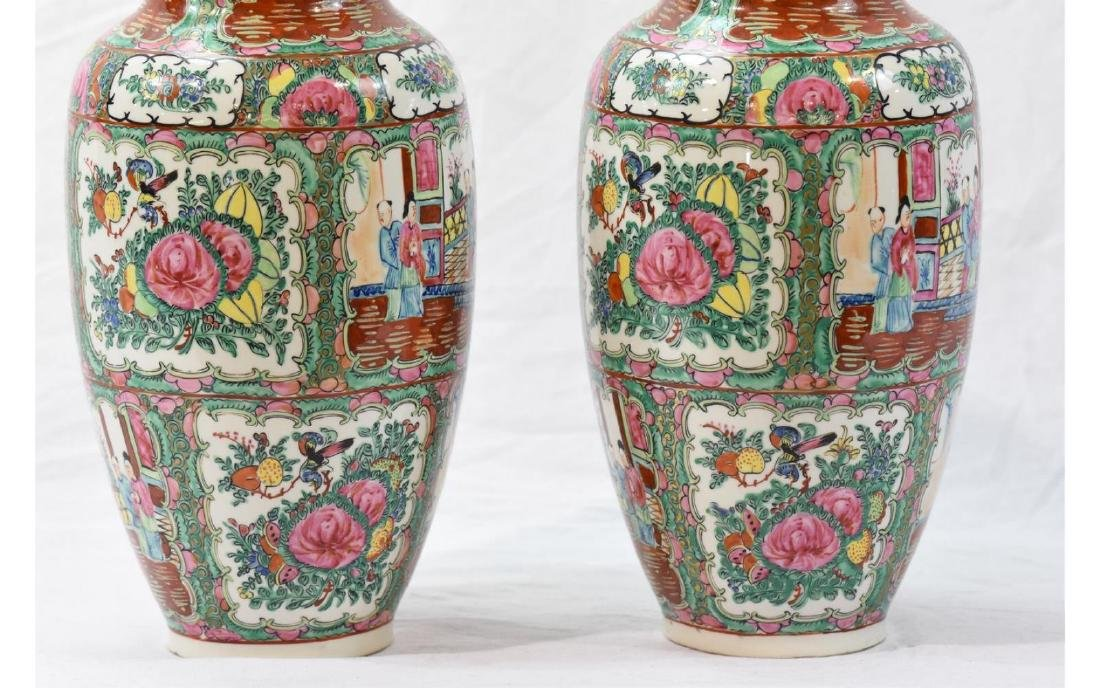Pair Contemporary Chinese Painted Porcelain Vases - 6