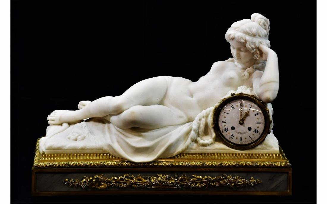 Dasson Carved Marble Figural Nude Mantle Clock