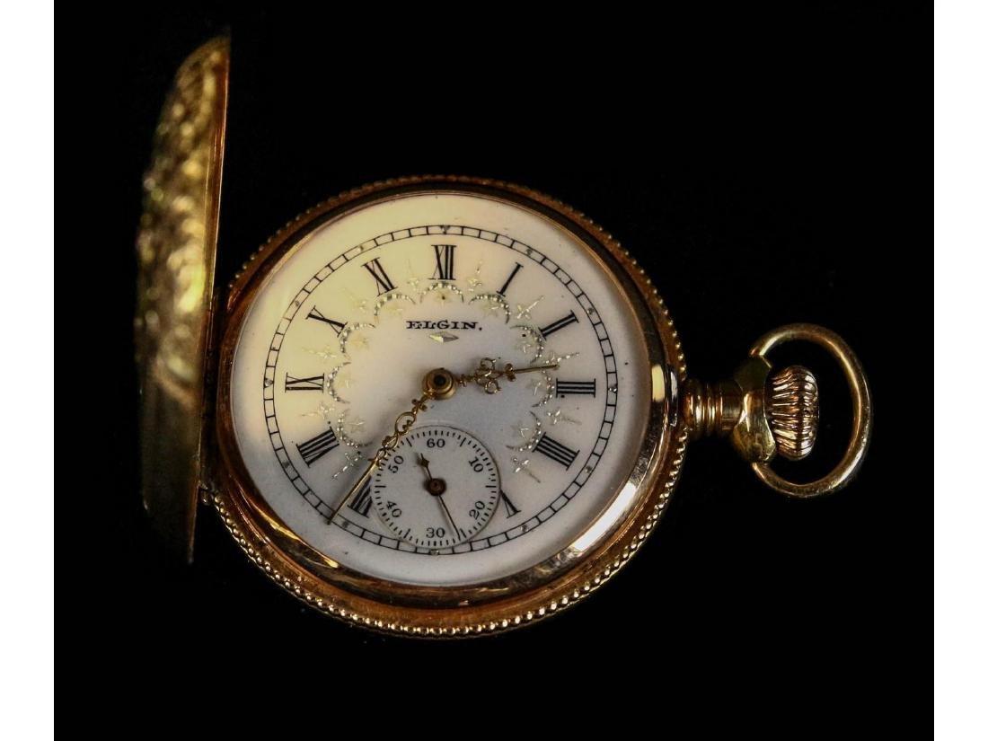 Elgin 14K Gold Pocket Watch with Diamond - 2