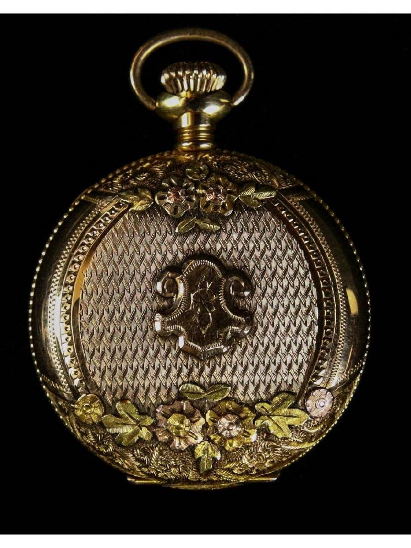 Elgin 14K Gold Pocket Watch with Diamond - 3